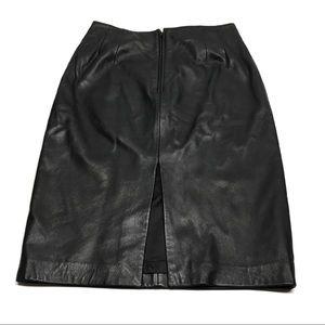 ❤️ Genuine Leather Black Pencil Skirt with Slit